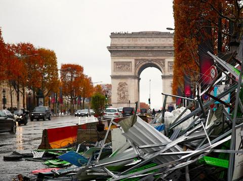 Recent damage from riot protests against the cost of living in Paris.