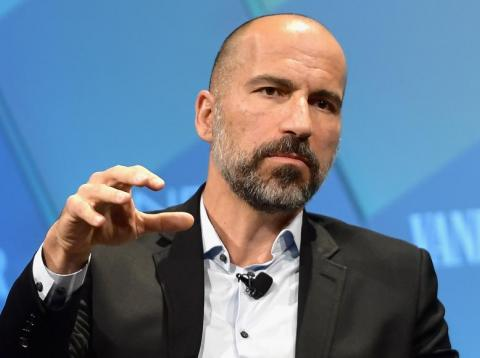 Uber CEO Dara Khosrowshahi speaks onstage at Day 1 of the Vanity Fair New Establishment Summit 2018 at The Wallis Annenberg Center for the Performing Arts on October 9, 2018 in Beverly Hills, California.