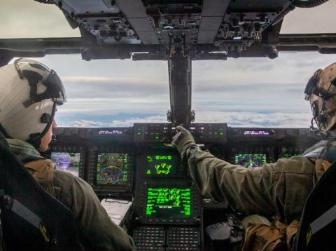 US Marine Corps pilots fly a MV-22B Osprey during Exercise Trident Juncture near northern Norway, November 6, 2018.
