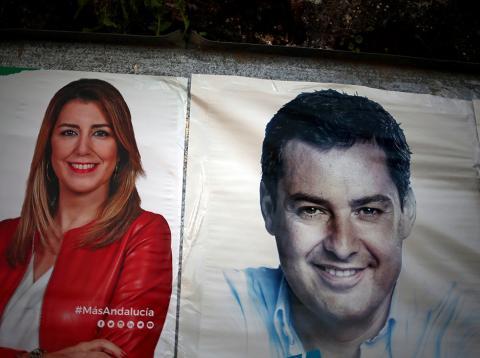 Carteles electorales de Susana Díaz y Juanma Moreno