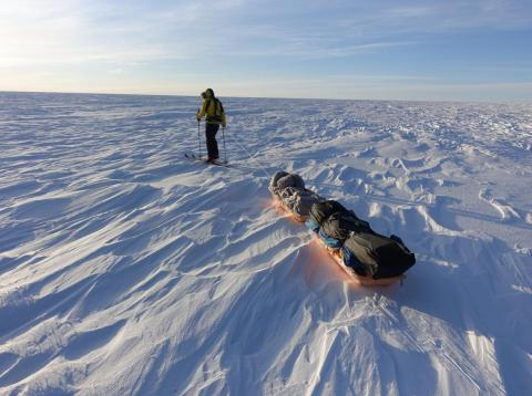 Colin O'Brady practiced for his trek by pulling heavy sleds in Greenland.