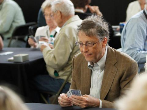 Former Microsoft chairman Bill Gates likes to play bridge.