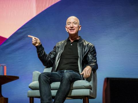 Jeff Bezos, CEO of Amazon, whose Amazon Web Services dominates the cloud-computing industry.