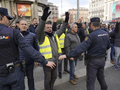 Taxistas en huelga