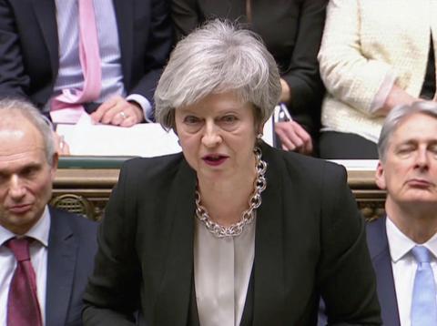Theresa May, durante el debate previo a la segunda votación sobre el Brexit
