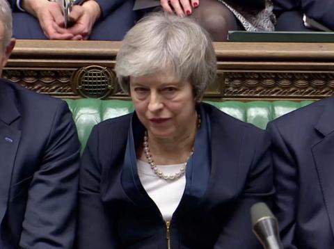 Theresa May, durante la votación del acuerdo del Brexit