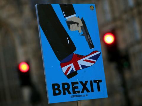 Una pancarta antiBrexit durante una manifestación en Londres