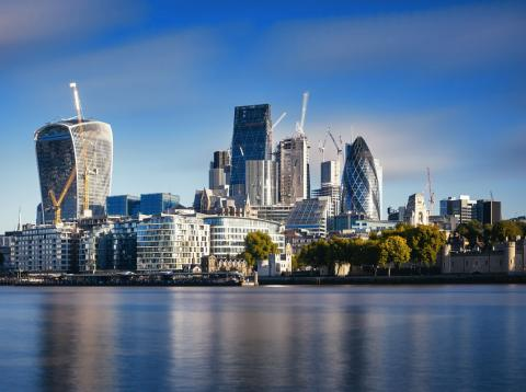 Vista de la City financiera de Londres