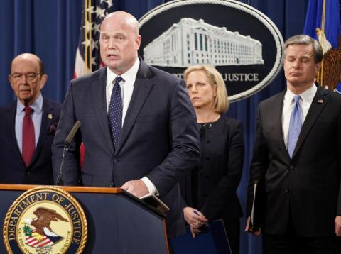 Matthew Whitaker, fiscal general en funciones, durante la rueda de prensa en la que se han anunciado los cargos contra Huawei.