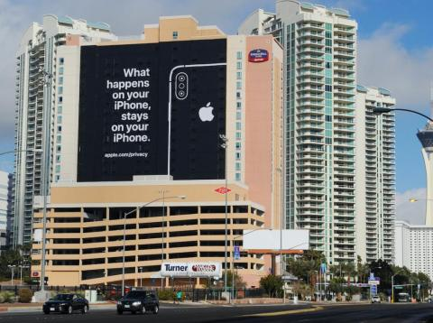 Apple's misleading ad on display in Las Vegas during this year's CES convention.