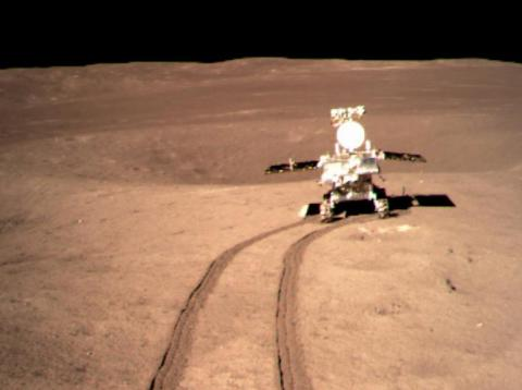China's Yutu 2 rover moving across the far side of the moon.