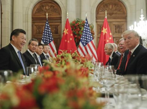 President Donald Trump, second from right, meets with China's President Xi Jinping, second from left, during their bilateral meeting at the G20 Summit, in Buenos Aires, Argentina.