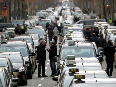 Huelga de taxi en Barcelona