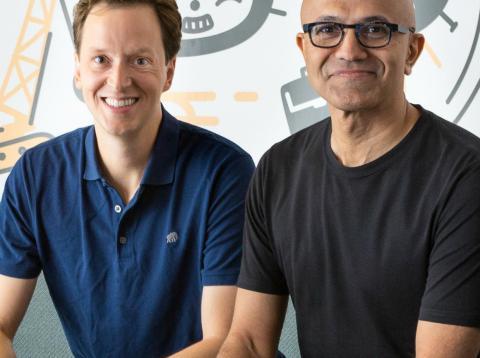 Nat Friedman, CEO de GitHub, y Satya Nadella, CEO de Microsoft