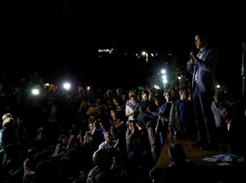 Juan Guaidó speaks to a crowd earlier this month in Caracas, Venezuela.