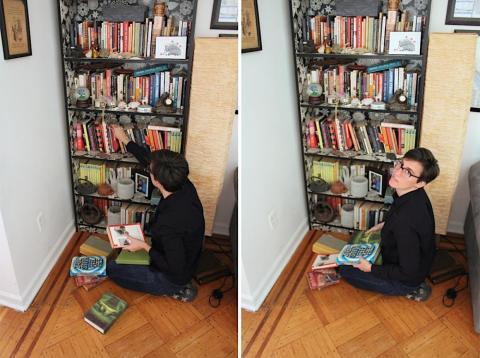 Caitlin Harper, ordenando sus libros [RE]
