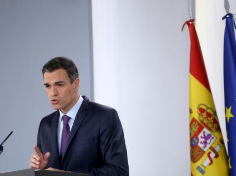 Una rueda de prensa del presidente del Gobierno, Pedro Sánchez