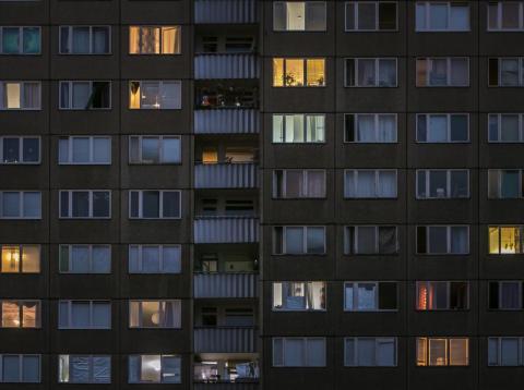 Prefabricated apartment buildings in Berlin, Germany.