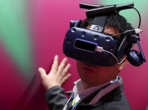 Unas gafas de realidad virtual en el Mobile World Congress.