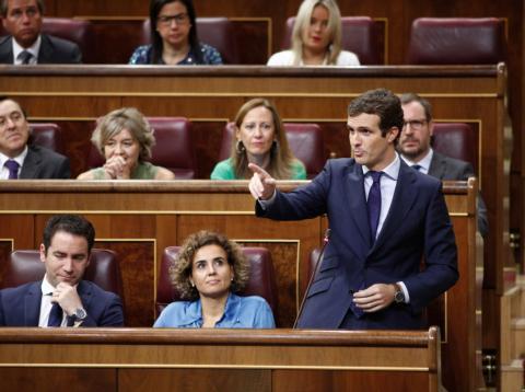Pablo Casado, presidente del PP, en el Congreso