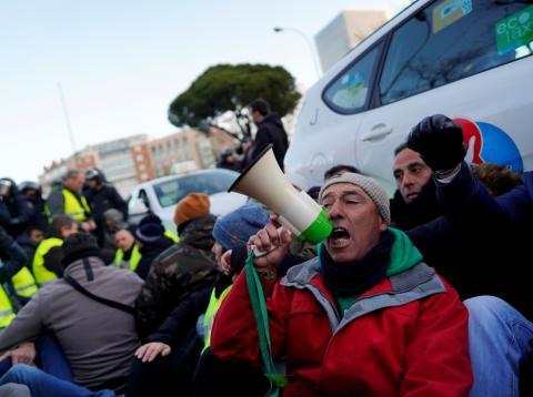 Taxistas protesta taxi