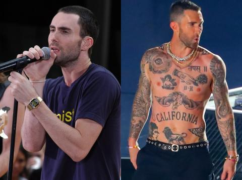 Adam Levine is truly covered in tattoos: he has two full sleeves, an entire back piece, and multiple chest and stomach tattoos.