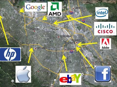 Mapa de Silicon Valley