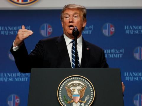 El presidente de EEUU, Donald Trump, en una conferencia de prensa tras la cumbre con Kim Jong-Un