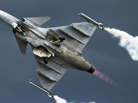 Sweden's Saab Gripen in flight.