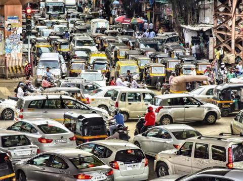 A traffic jam in Mumbai.