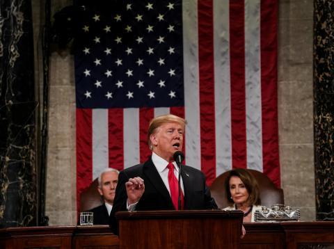 Donald Trump, durante el discurso sobre el estado de la unión