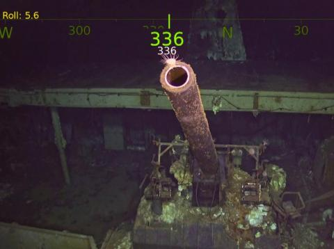 The USS Hornet's 5-inch gun in a still from video footage of the moment the World War II aircraft carrier was found.