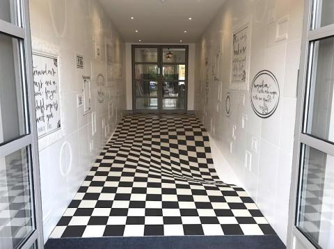 This wavy floor is actually completely flat.