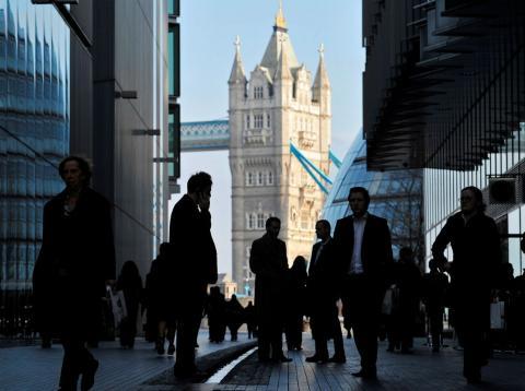 Trabajadores en la City de Londres