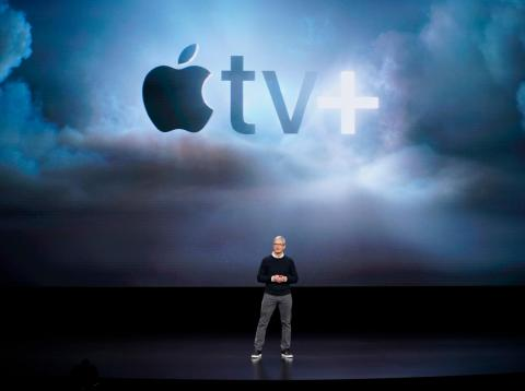Apple CEO Tim Cook unveils the new Apple TV Plus at an event at Apple's headquarters.