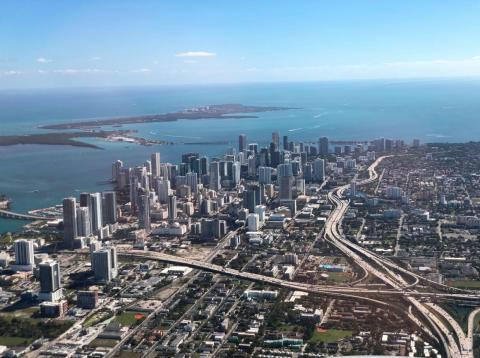 The average elevation of Miami is just six feet above sea level.
