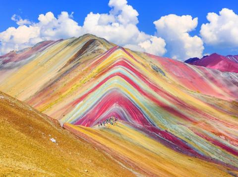 The colorful Rainbow Mountain is located in Peru's Cusco region.