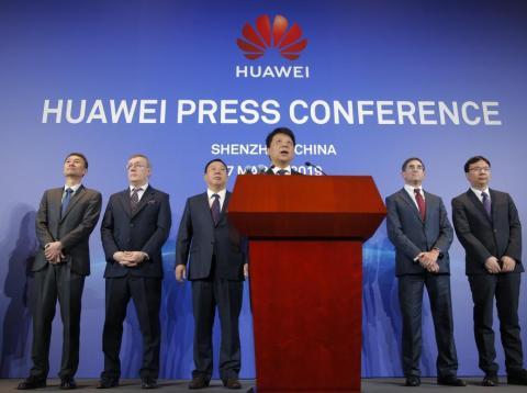 Guo Ping, presidente rotativo de Huawei, durante una conferencia de prensa en Shenzhen, China.