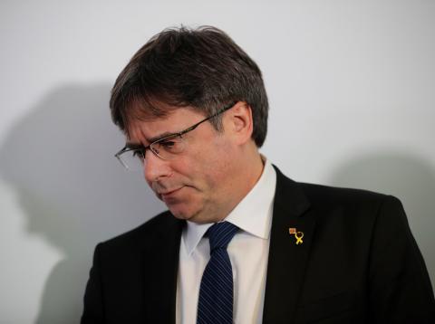 Carles Puigdemont, durante una rueda de prensa en Berlín.