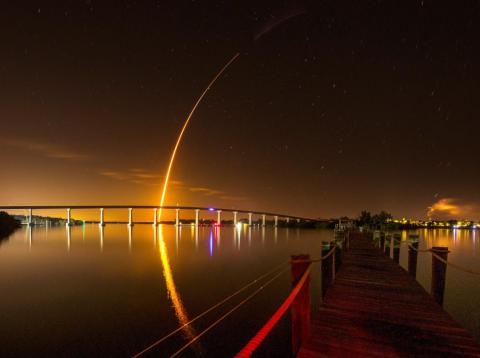 SpaceX's Falcon 9 rocket launches toward orbit carrying the company's Crew Dragon spaceship, which was designed for NASA astronauts, on March 2, 2019.