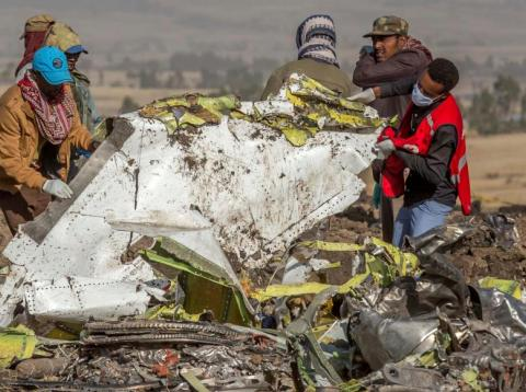 Restos del 737 Max siniestrado en marzo en Etiopía.