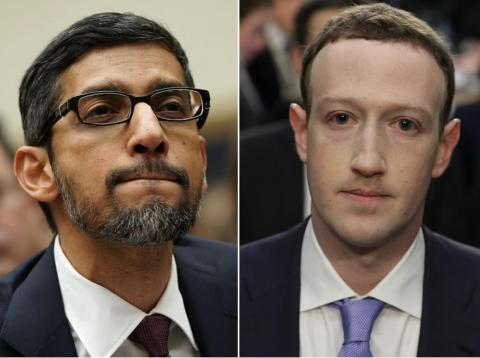 Google CEO Sundar Pichai (left) and Facebook CEO Mark Zuckerberg.