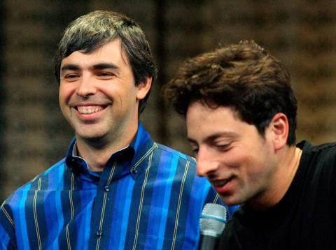 Google cofounders Larry Page (left) and Sergey Brin (right).