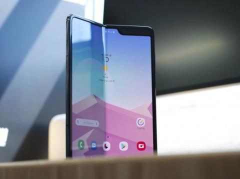 The Samsung Galaxy Fold, partially folded.