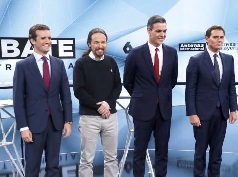Pablo Casado, Pablo Iglesias, Pedro Sánchez, Albert Rivera