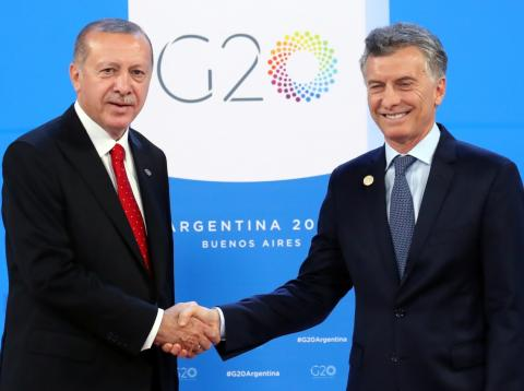 El presidente turco, Recep Tayyip Erdogan, y su homólogo argentino, Mauricio Macri