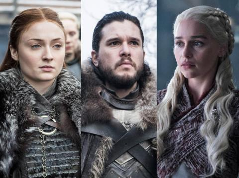 """Sansa Stark, Jon Snow, and Daenerys Targaryen on """"Game of Thrones"""" season eight."""