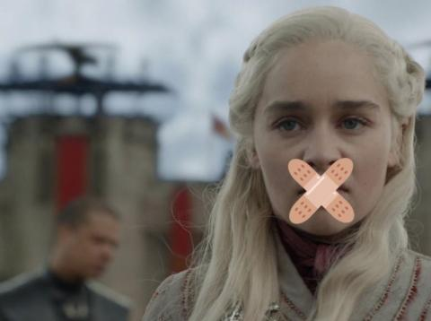 "An edited image showing Daenerys Targaryen in season 8 of ""Game of Thrones,"" with emoji plasters superimposed on her face."