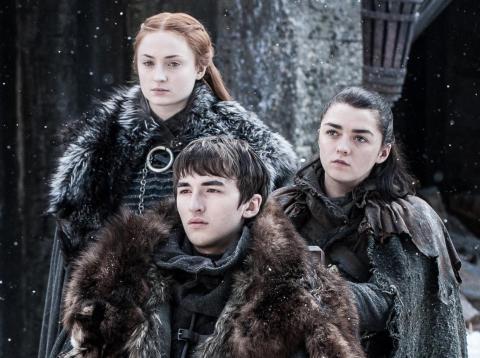 "Sansa, Bran, and Arya Stark on ""Game of Thrones."""