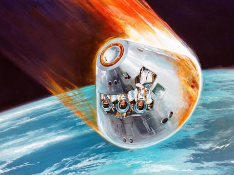 A 1968 artist's concept of an Apollo command module returning to Earth after a voyage to the moon. Plasma is created ahead of a spacecraft's heat shield as it rams through the planet's atmosphere.